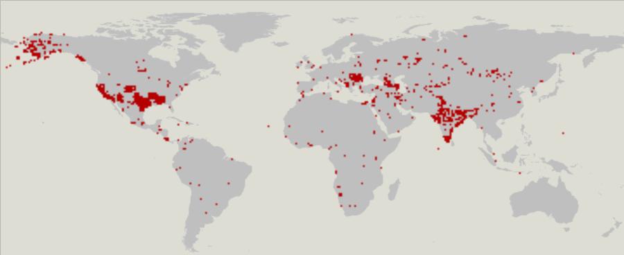 Города, отмеченные линиями