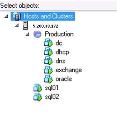 Example of adding backup objects
