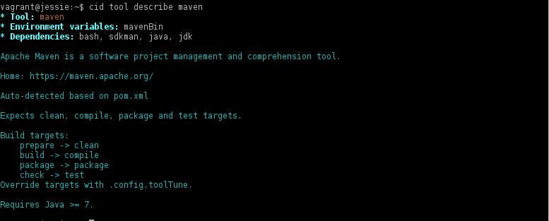 cid tool describe maven