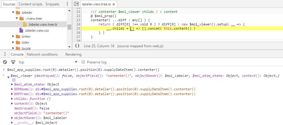 Исходный и сгенерированный код создания компонента