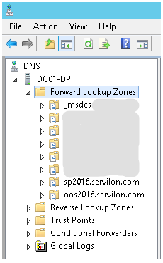 add two new Forward Lookup Zones internal DNS