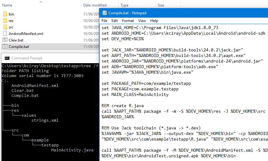 Пишем, собираем и запускаем HelloWorld для Android в блокноте. Java 8 и Android N