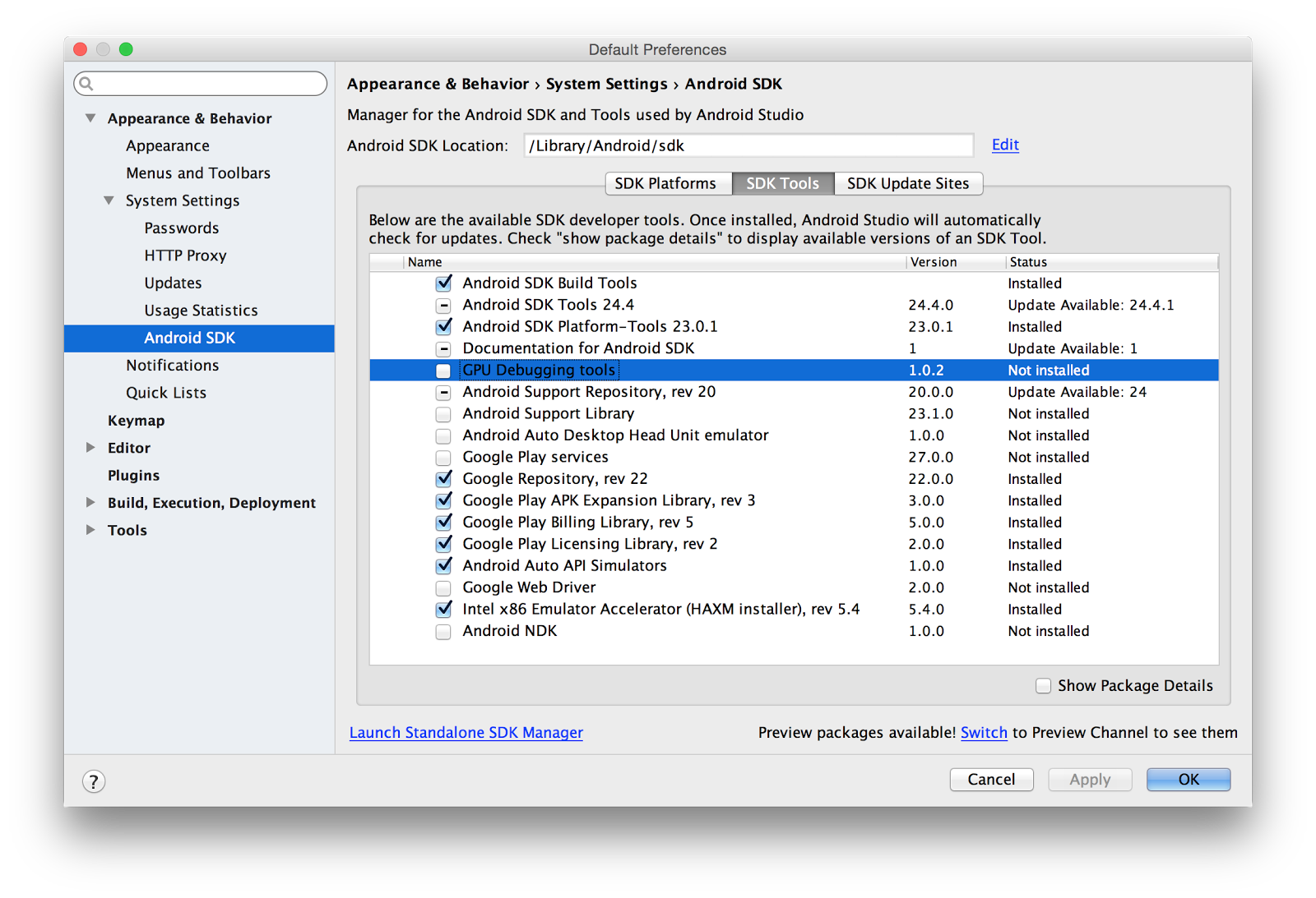 Android Studio 2 0 development environment released (preview)