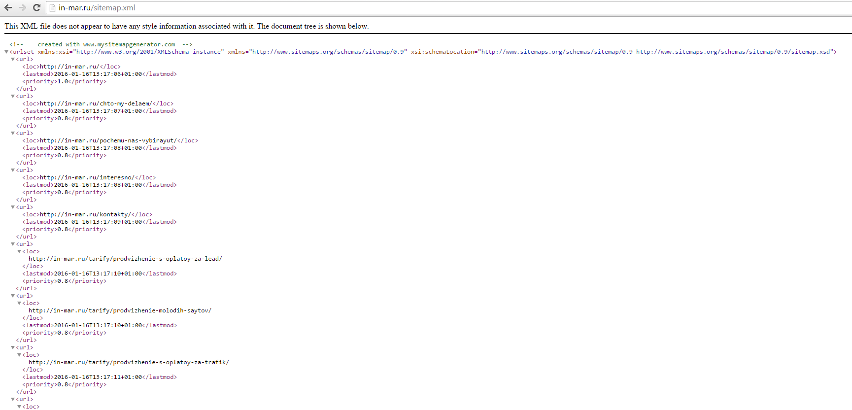 Sitemap.xml for search engine promotion site in Yandex