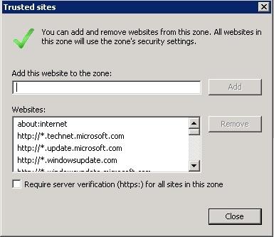Site to Zone Assignment list и Internet Explorer с включенной Enhanced Secu ...