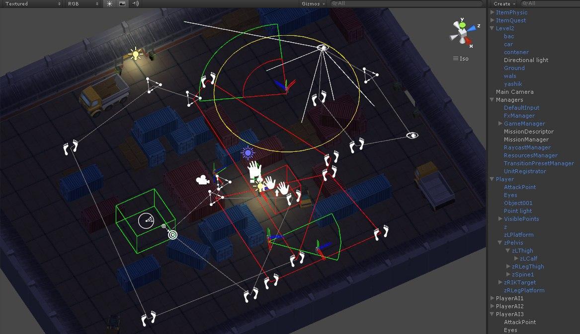 Unity3d. Реализация зон видимости и слышимости