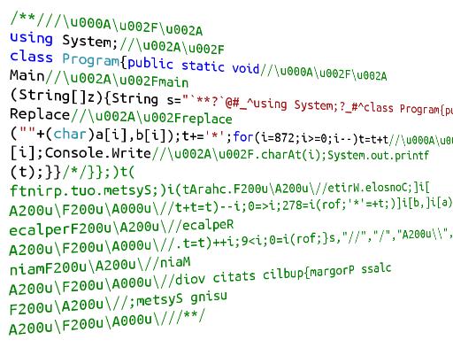Пишем квайн-полиглот-палиндромы в честь дня программиста