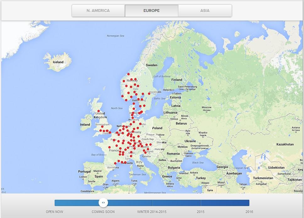 Заправки Tesla в странах Западной Европы.