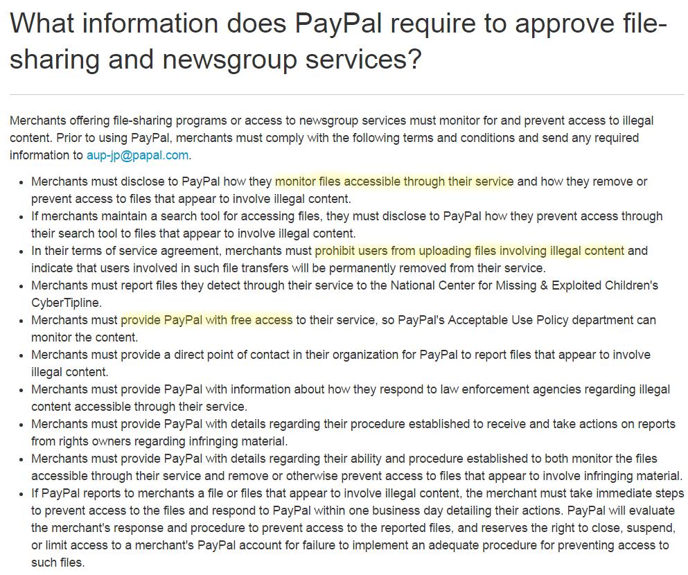 PayPal заставляет хостеров проверять файлы и следить за пользователями