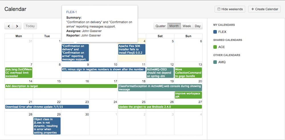 Календарь для JIRA с открытым исходным кодом