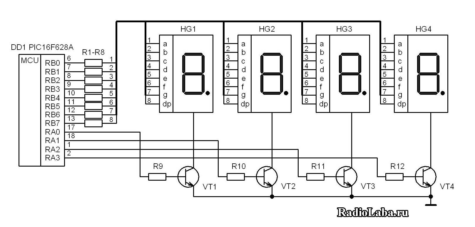 схема счётчика на микроконтроллере
