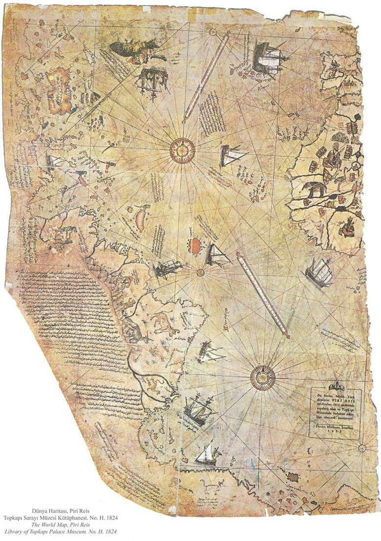 A restored fragment of the Piri Reis map (1513), considered the first authentic map of the modern world. The map, being a compilation of various sources, contains many riddles, including a representation of the territory associated with Antarctica, which was officially discovered only in 1820. However, the hypothetic Terra Australis (South Land) was drawn on maps before the Piri Reis map as well, based on assumptions alone.