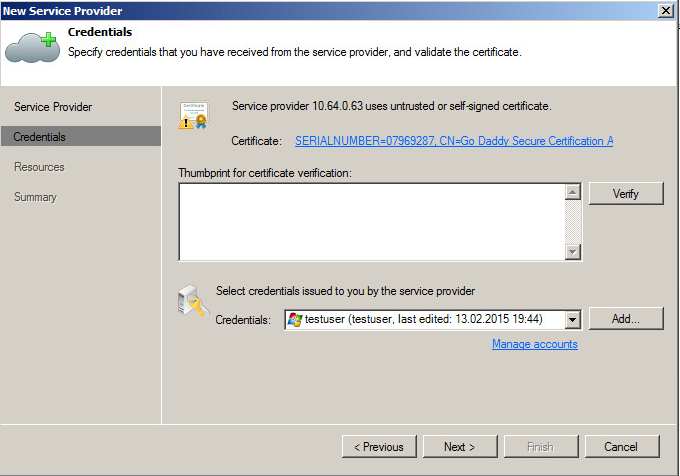 Verify certificate validity and enter user credentials