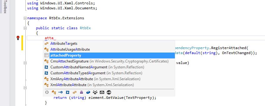 Расширение функциональности элементов управления Windows с помощью AttachedProperty