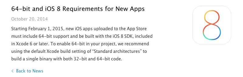Apple обязала разработчиков создавать 64-битные приложения