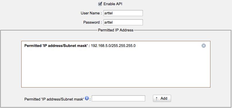 Настройка API Settings