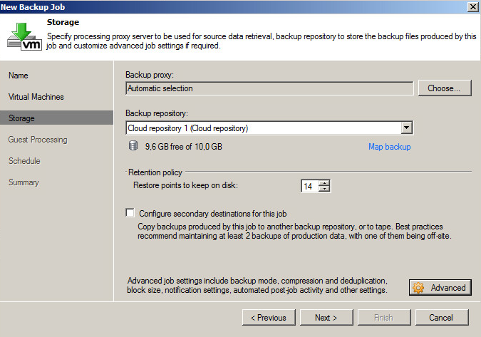 Example of choosing a cloud repository for virtual machine backup