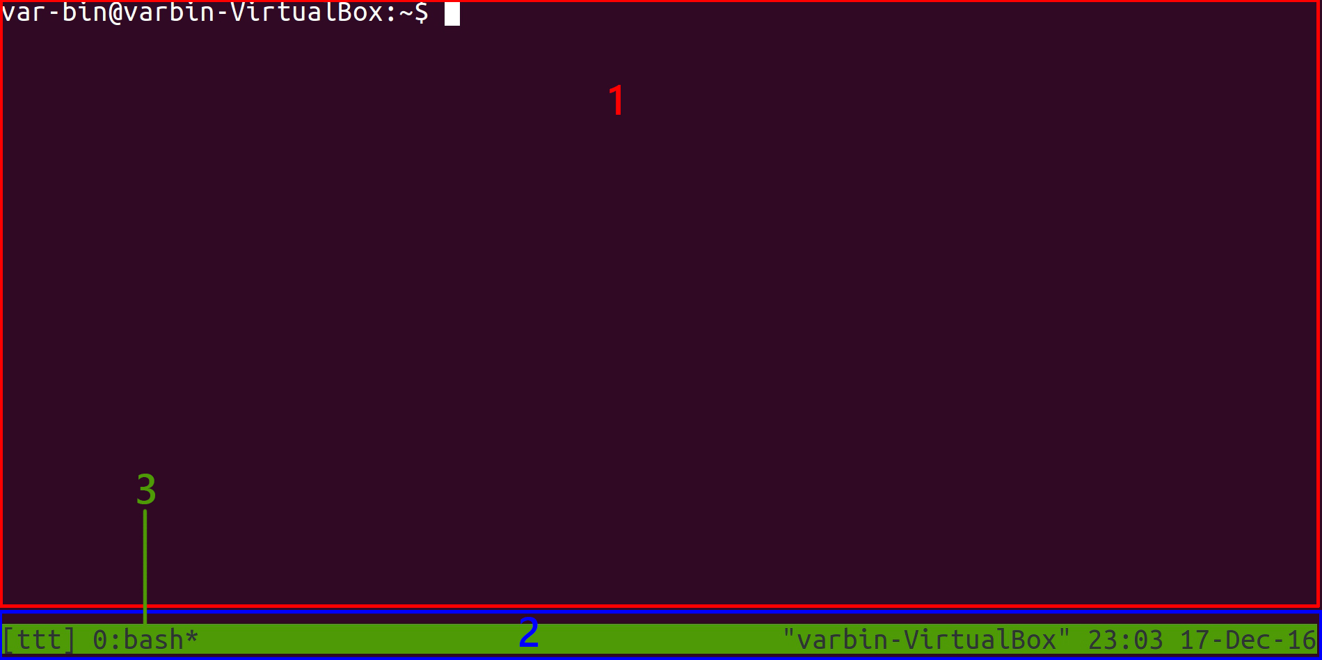 tmux first start example