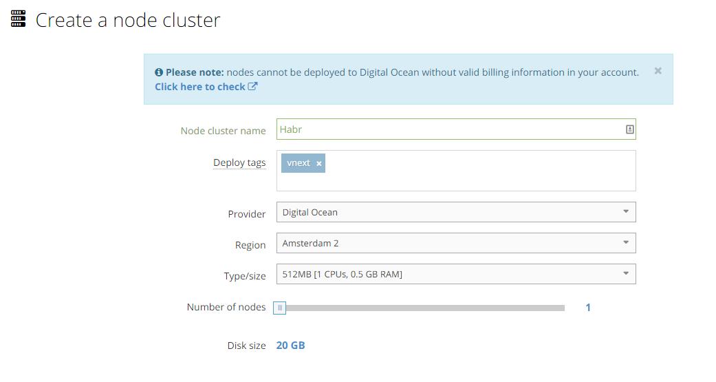 Create a node cluster