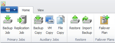 Example of possible functions in the Backup & Replication panel