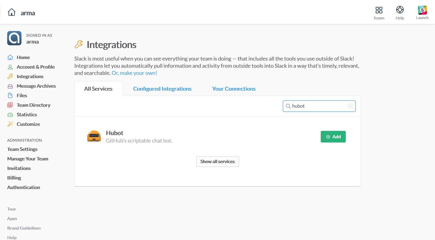 Увімкніть Hubot інтеграцію в Slack