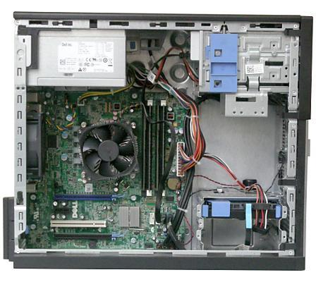 Вид системного блока Dell OptiPlex 990 соснятой боковиной