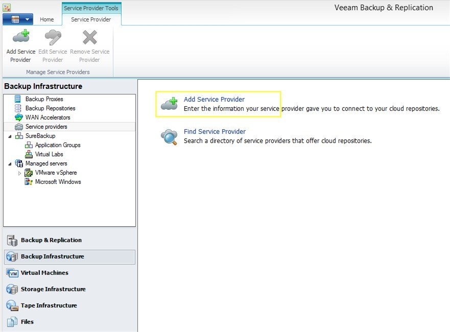 An example of the choice of a cloud provider in the Veeam Backup & Replication console