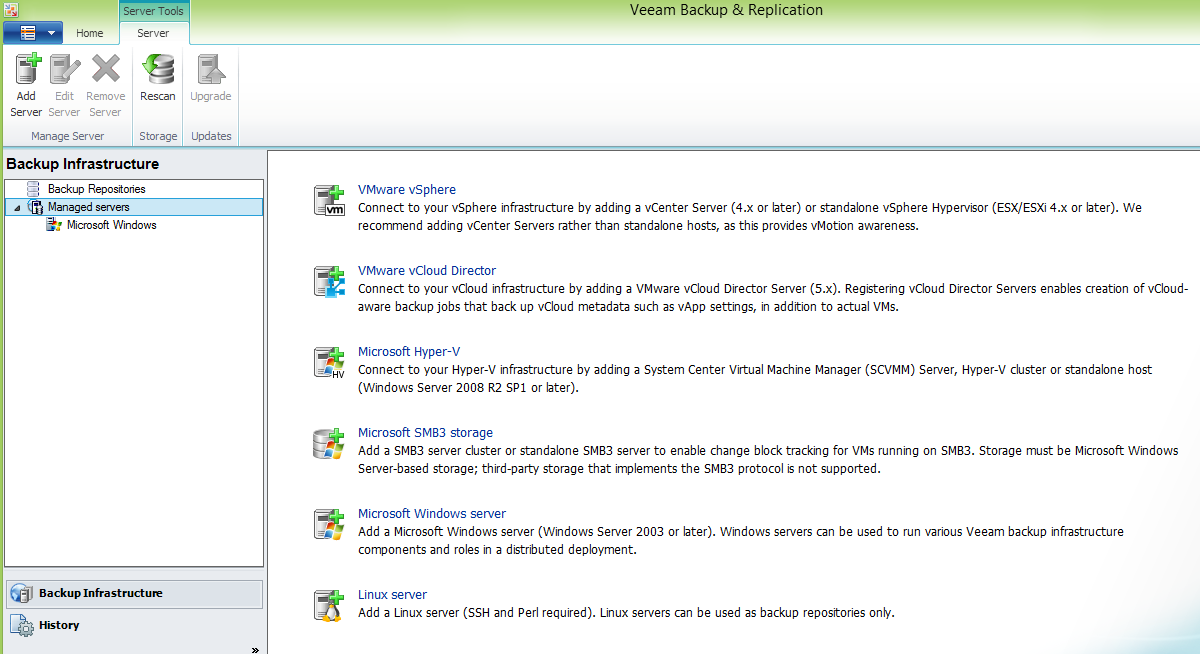 Initial launch of Veeam Backup & Replication