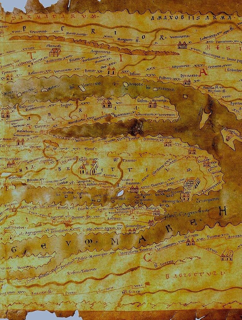 The Peutingeriana table (a fragment), created in the period between the 1st century BCE and the 5th century CE. The map is 6.75 m long and 0.34 m wide. The map shows 555 cities and about 3,500 sites.