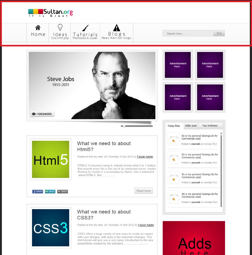 Шапка сайта примеры кода