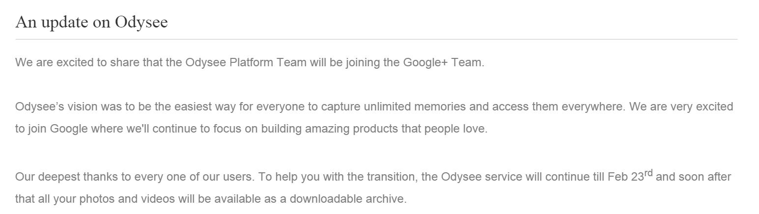 Google поглотил приложение для сохранения фото оффлайн Odysee