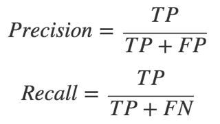 Формулы для расчета полноты и точности