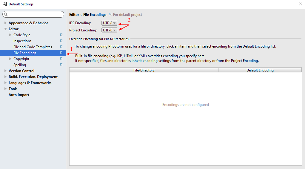 настройка кодировки файлов по умолчанию в PHPStorm