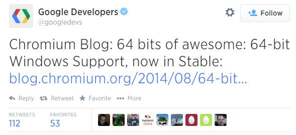 64-битный Chrome вышел в релиз