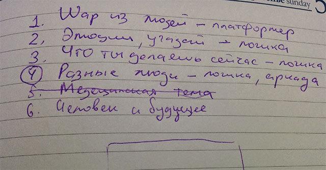 Начерки ідей, після мозкового штурму.