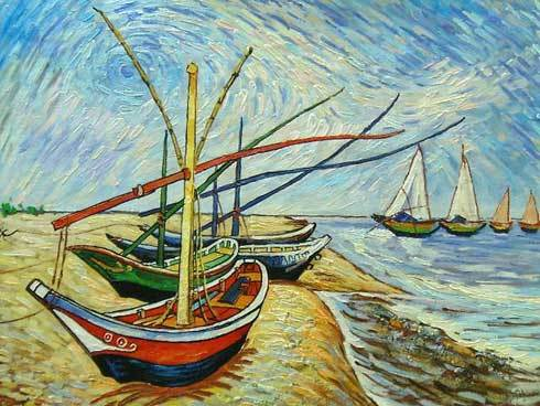 Van Gogh Fishing Boats on the Beach