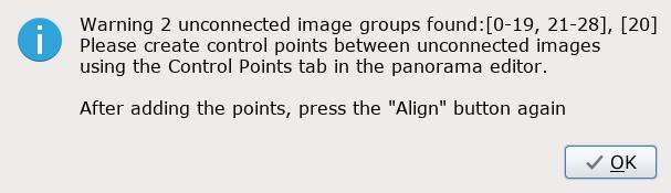 Предупреждение о том, что найдено 2 группы изображений не соединенные между ссобой