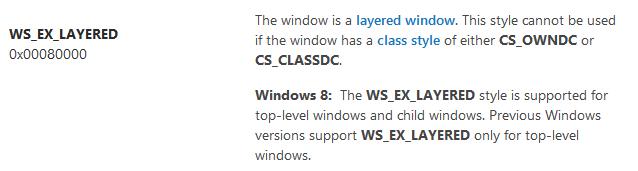 Стиль WS_EX_LAYERED для дочерних окон в Windows 8