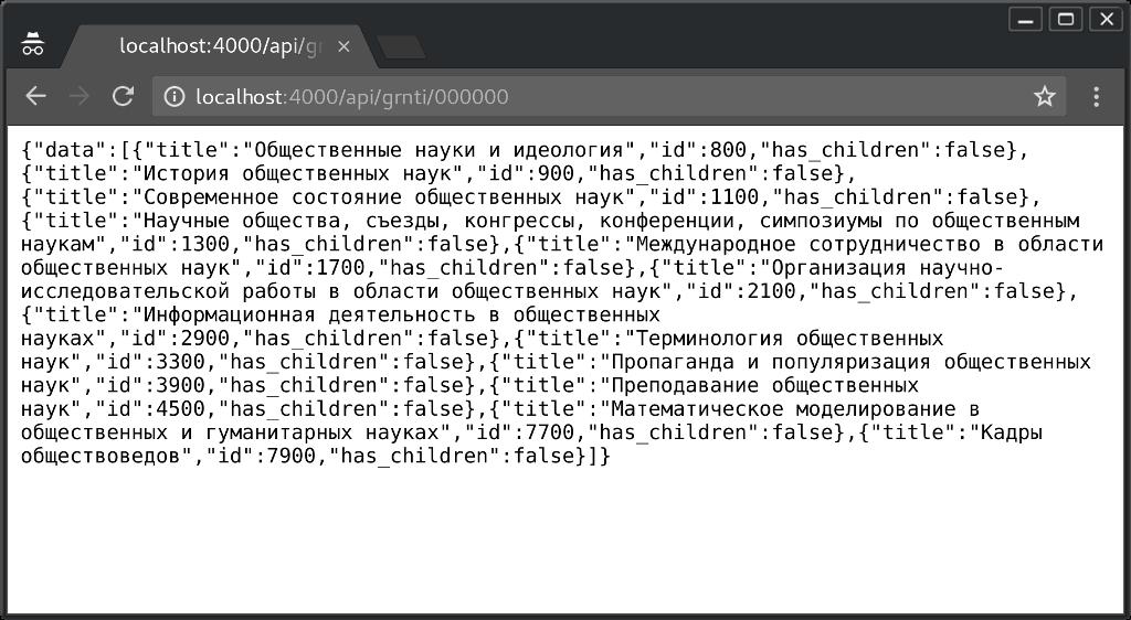 GRNTI dictionary browser screenshot