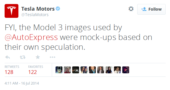 TeslaMotors: FYI, the Model 3 images used by AutoExpress were mock-ups based on their own speculation.