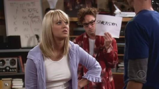 TBBT: Lenoard holding sarcasm sign.