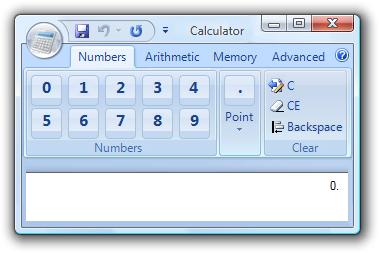 Скриншот калькулятора с риббоном