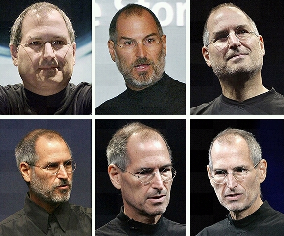 Steve Jobs in 2000, 2003, 2005, 2006, 2008 and 2009