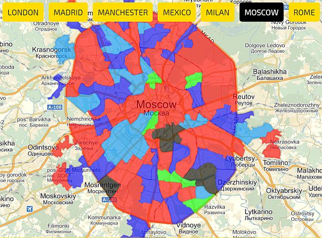 координаты районов городов