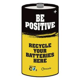 Be positive - агитплакат новой акции по переработке батареек в Великобритании