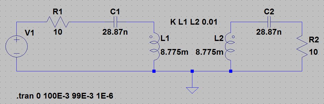 SPICE модель двух индуктивно-связанных катушек