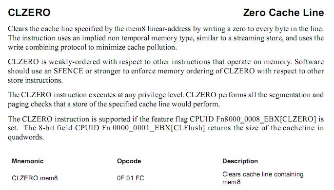 CLZERO, Cache Line Zero