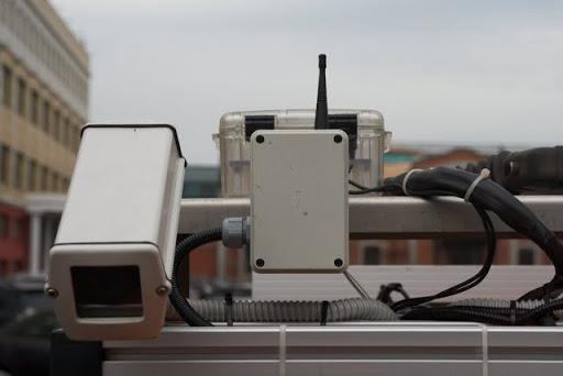 Rear stereo camera and radio modem
