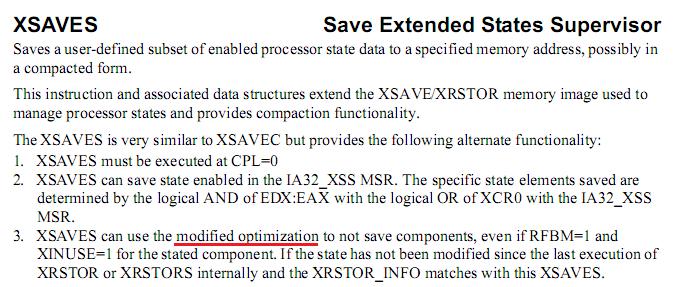 XSAVES, Extended Save for Supervisor