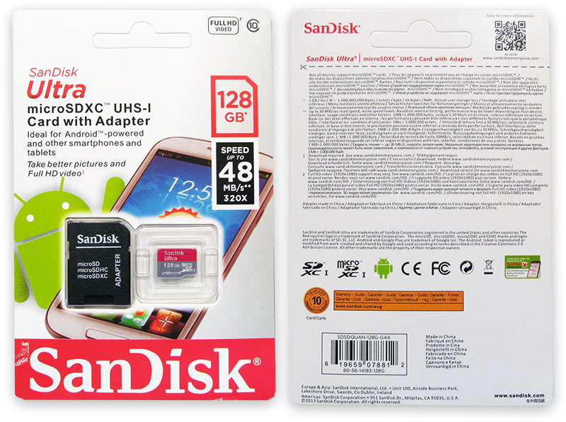 Подделка на Sandisk Ultra 128GB Micro SD